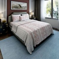 Brielle Cross-Stitched King Quilt Set in Red