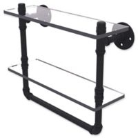 Allied Brass Pipeline 16-Inch Double Glass Shelf with Towel Bar in Matte Black