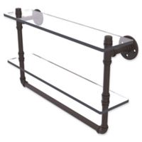 Allied Brass Pipeline Collection 22-Inch Double Glass Shelf with Towel Bar in Oil Rubbed Bronze
