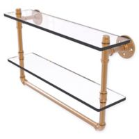 Allied Brass Pipeline Collection 22-Inch Double Glass Shelf with Towel Bar in Brushed Bronze