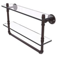 Allied Brass Pipeline Collection 22-Inch Double Glass Shelf with Towel Bar in Antique Bronze