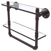 Allied Brass Pipeline Collection 16-Inch Double Glass Shelf with Towel Bar in Antique Bronze