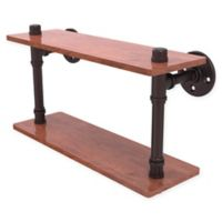 Allied Brass Pipeline Collection 16-Inch Ironwood Double Shelf in Antique Bronze