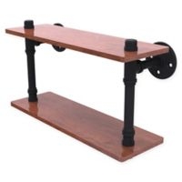 Allied Brass Pipeline Collection 16-Inch Ironwood Double Shelf in Matte Black