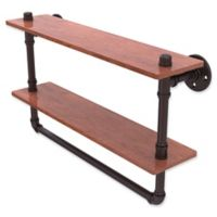 Allied Brass Pipeline Collection 22-Inch Double Ironwood Shelf with Towel Bar in Antique Bronze