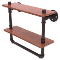 Allied Brass Pipeline Collection 16-Inch Double Ironwood Shelf with Towel Bar in Antique Bronze