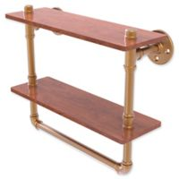Allied Brass Pipeline Collection 16-Inch Double Ironwood Shelf with Towel Bar in Brushed Bronze