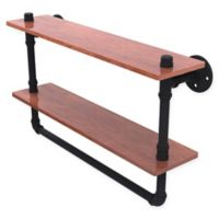 Allied Brass Pipeline 22-Inch Double Ironwood Shelf with Towel Bar in Matte Black