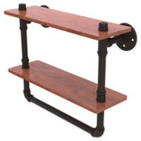 Allied Brass Pipeline 16-Inch Double Ironwood Shelf with Towel Bar in Matte Black