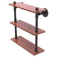 Allied Brass Pipeline Collection 16-Inch Ironwood Triple Shelf in Oil Rubbed Bronze