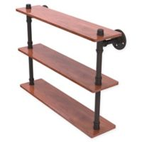 Allied Brass Pipeline Collection 22-Inch Ironwood Triple Shelf in Oil Rubbed Bronze
