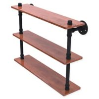 Allied Brass Pipeline Collection 22-Inch Ironwood Triple Shelf in Matte Black
