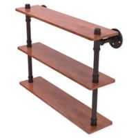 Allied Brass Pipeline Collection 22-Inch Ironwood Triple Shelf in Antique Bronze