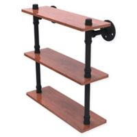 Allied Brass Pipeline Collection 16-Inch Ironwood Triple Shelf in Matte Black