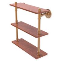 Allied Brass Pipeline Collection 16-Inch Ironwood Triple Shelf in Brushed Bronze