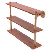 Allied Brass Pipeline Collection 22-Inch Ironwood Triple Shelf in Brushed Bronze