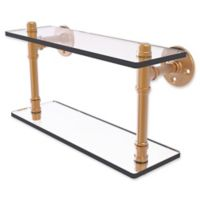 Allied Brass Pipeline Collection 16-Inch Double Glass Shelf in Brushed Bronze