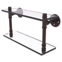 Allied Brass Pipeline Collection 16-Inch Double Glass Shelf in Antique Bronze