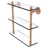 Allied Brass Pipeline Collection 16-Inch Triple Glass Shelf in Brushed Bronze