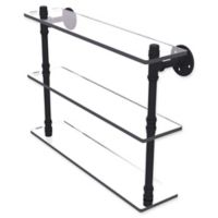 Allied Brass Pipeline Collection 22-Inch Triple Glass Shelf in Matte Black