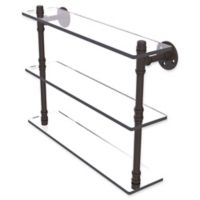 Allied Brass Pipeline Collection 22-Inch Triple Glass Shelf in Oil Rubbed Bronze