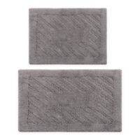 "Diagonal Racetrack 2-Piece 17"" x 24"" and 20"" x 30"" Bath Mat Set in Silver"