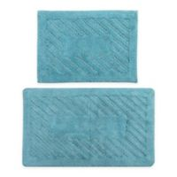 "Diagonal Racetrack 2-Piece 17"" x 24"" and 20"" x 30"" Bath Mat Set in Aqua"