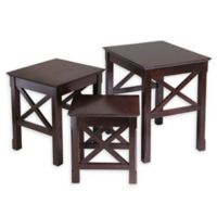 Winsome Trading Xola 3-Piece Nesting Table Set in Cappuccino