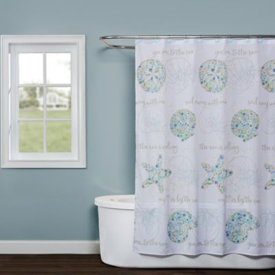 Saturday Knight Seaside Blossoms Shower Curtain In White