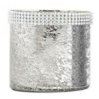 Beaded Mercury Glass Tealight Candle Holder in Silver