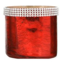 Beaded Mercury Glass Tealight Candle Holder in Red