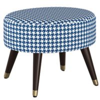 Skyline Furniture Houndstooth Linen Upholstered Ottoman in Navy