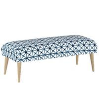 Skyline Furniture Linen Upholstered Bench in Blue