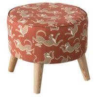 Skyline Furniture Linen Upholstered Ottoman in Orange