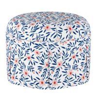 Skyline Furniture Linen Upholstered Ottoman in White