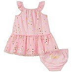 Juicy Couture® Size 3-6M 2-Piece Gold Foil Dots Dress and Panty Set in Pink
