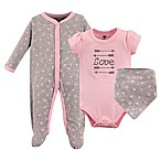 Hudson Baby® Size 0-3M 3-Piece Love Layette Set