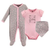 Hudson Baby® Size 6-9M 3-Piece Love Layette Set