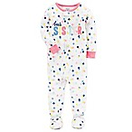 "carter's® Size 12M Multi Dot ""Best Sister"" Footed Pajama in White"