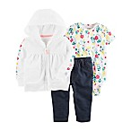 carter's® Size 3M 3-Piece Floral Jacket, Bodysuit and Pant Set in White/Pink