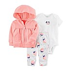 carter's® Size 6M 3-Piece Strawberry Bodysuit, Hooded Cardigan, and Pant Set