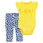 carter's® Size 3M 2-Piece Yellow Ruffles Bodysuit and Floral Pant Set in Blue