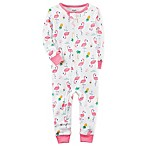 carter's® Size 12M Flamingo Print Footless Pajama in White