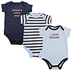 Luvable Friends® Size 12-18M 3-Pack Boy Mommy Short Sleeve Bodysuits