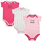 Luvable Friends® Size 12-18M Daddy 3-Pack Bodysuits in Pink