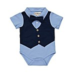 Beetle & Thread Size 0-3M Vest Bodysuit with Bow Tie in Navy