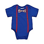 Beetle & Thread Size 6-9M Shirtzie with Suspenders in Blue