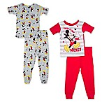 "Disney® Size 18M 4-Piece ""Only One Mickey"" Pajama Set in Red/Grey"