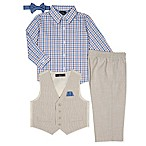 Nautica® Size 12M 5-Piece Shirt, Pants, Vest, Hankie and Tie Set in Khaki
