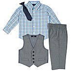 Nautica® Size 18M 4-Piece Shirt, Pants, Vest and Tie Set in Grey